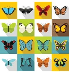 Butterfly icons set flat style vector image
