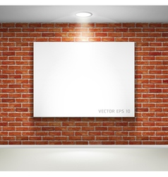 Gallery exhibition picture frames on brick wall vector image vector image