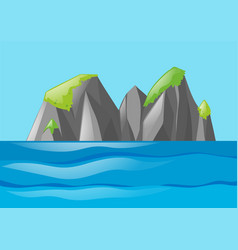 nature scene with moutain and ocean vector image