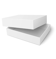 Template of white cardboard box with opened lid vector image