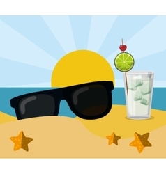 vacation beach sunglasses cocktail sun sand vector image vector image