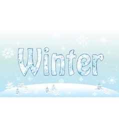 Winter forest background snowflake pattern for vector image