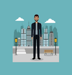 young guy standing street brench and lamp post vector image