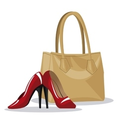 Beige purse and red heel wo vector