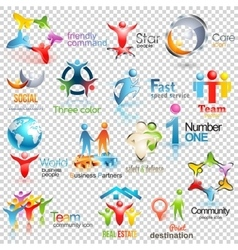 Big collection of people logos Business vector image