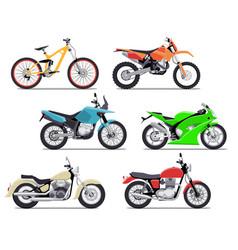 bike and motorbike flat set vector image