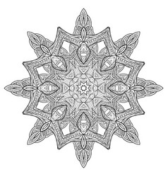 black white doodle circular mandala with a boho vector image