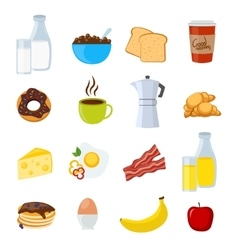 Breakfast Flat And Isolated Icons Set vector image vector image