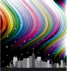 city with rainbow vector image vector image