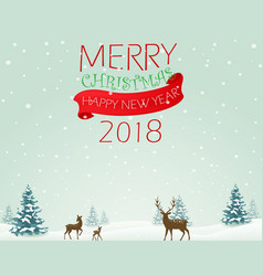 merry christmas background with deer vector image vector image