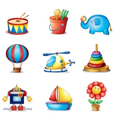 Nine different kinds of toys vector image vector image