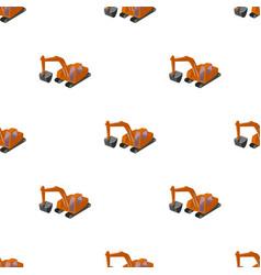 Orange excavator with a bucket machine for mine vector