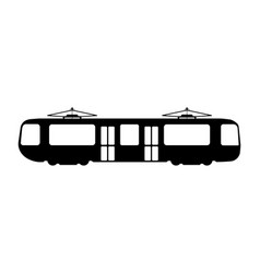 tram flat icon and logo silhouette vector image vector image