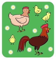 Funny chicken family vector