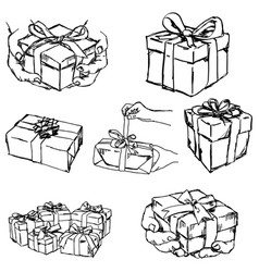 hand holding or offering gift or present vector image vector image