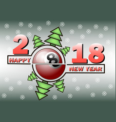 happy new year and billiard ball vector image