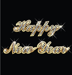 Happy New Year in gold and bling bling vector image