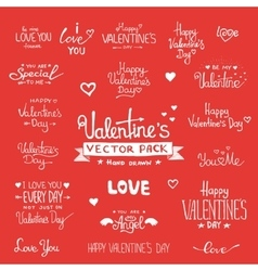 Happy Valentines Day Hand Lettering set vector image