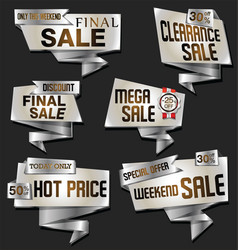 modern silver and gold origami sale stickers and vector image