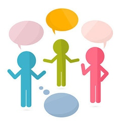Paper People with Speech Bubbles vector image