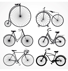 set of bicycles on a white background vector image vector image