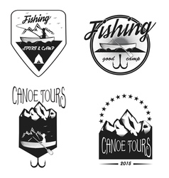Set of vintage fishing labels vector image vector image