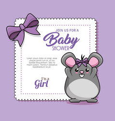 Baby shower card with mouse vector