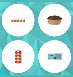 Flat icon food set of tomato tin tuna tart and vector