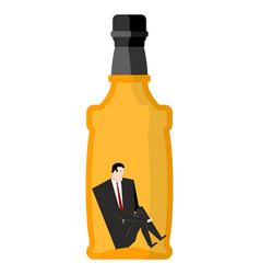 man drinker inside bottles businessman sitting in vector image vector image