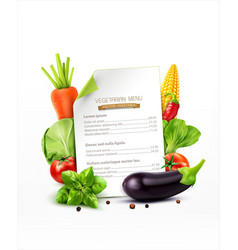 menu pattern with vegetables carrots cabbage vector image vector image