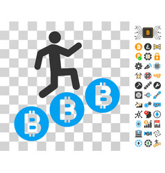 person climb bitcoins icon with bonus vector image