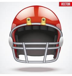 Realistic Red American football helmet Front view vector image