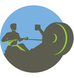 Rower rowing machine circle retro vector