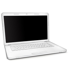 Silver laptop with black blank screen vector image