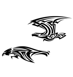 Two birds mascots in tribal style vector image vector image