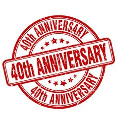 40th anniversary red grunge stamp vector