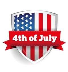 4th july - shield with flag vector