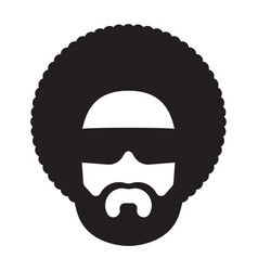 African man with afro hairstyle and sunglasses vector