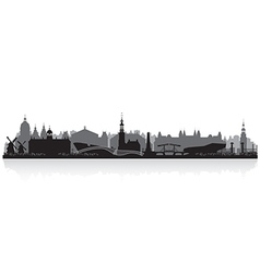 Amsterdam Netherlands city skyline silhouette vector image