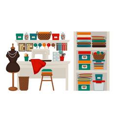 Atelier tailor or dressmaker modiste salon vector