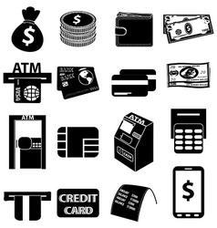 ATM money icons set vector