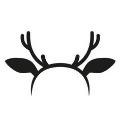black and white reindeer antler hat silhouette vector image