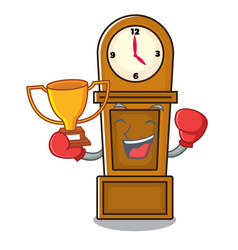 Boxing winner grandfather clock mascot cartoon vector