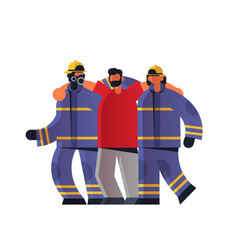 brave firemen couple rescuing injured man vector image