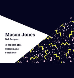 business card template in style memphis vector image