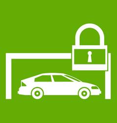 car and padlock icon green vector image