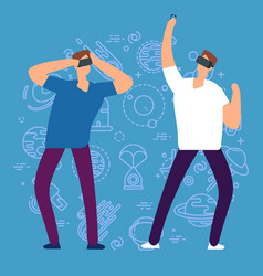 cartoon character men with virtual reality glasses vector image
