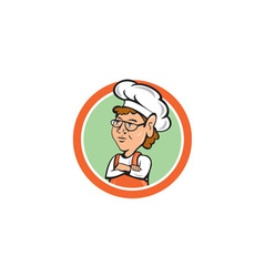 Chef Cook Female Arms Folded Circle Cartoon vector