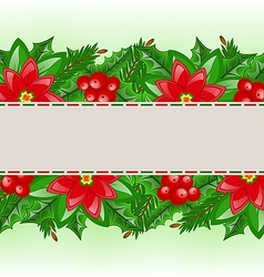 Christmas card with holly berry and poinsettia vector
