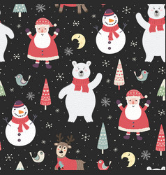 christmas night seamless pattern with cute charact vector image